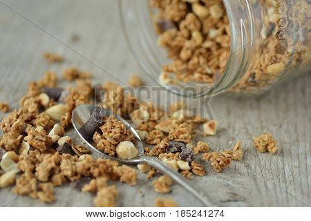 Home made granola - oat, nuts and chocolate