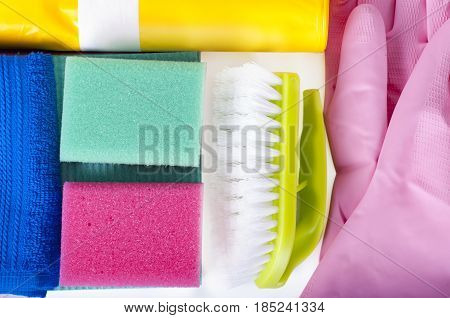 Eco-friendly natural cleaners cleaning products. Homemade green cleaning on white background.