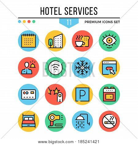 Hotel services icons. Modern thin line icons set. Premium quality. Outline symbols, graphic concepts collection, flat line icons for web design, mobile apps, ui, infographics. Vector illustration