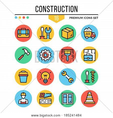 Construction icons. Modern thin line icons set. Premium quality. Outline symbols, graphic elements, concepts, flat line icons for web design, mobile app, ui, infographics. Creative vector illustration