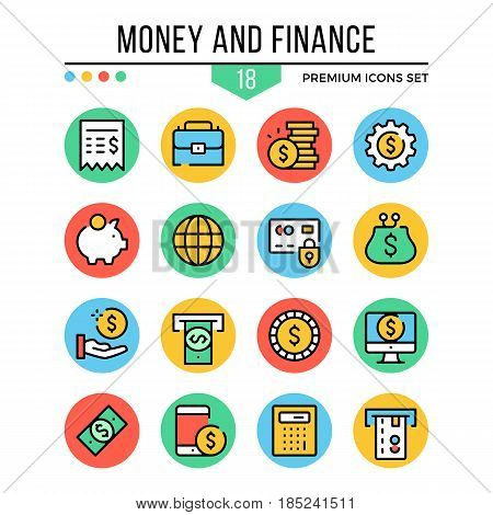 Money and finance icons. Modern thin line icons set. Premium quality. Outline symbols, graphic elements, concepts, flat line icons for web design, mobile apps, ui, infographics. Vector illustration