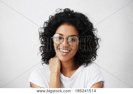 Positive Human Emotions. Portrait Of Beautiful And Charming Female Student With Afro Hairstyle, Havi