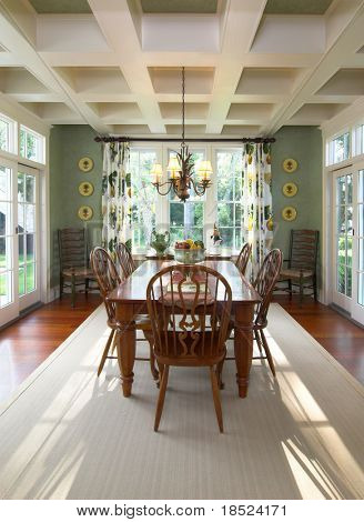 extravagant dining room with windows