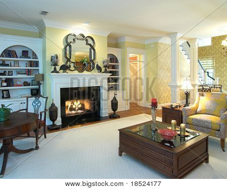 extravagant livingroom with fireplace