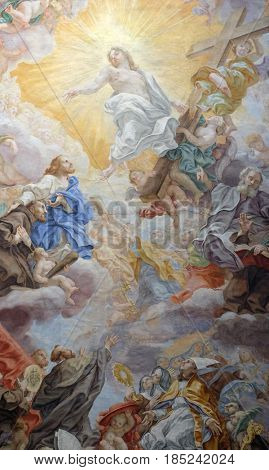 ROME, ITALY - SEPTEMBER 04: The ceiling fresco (Triumph of Franciscans order - Trionfo dell'Ordine) by Domenico Maria Muratori in church dei Santi XII Apostoli in Rome, Italy on September 04, 2016.