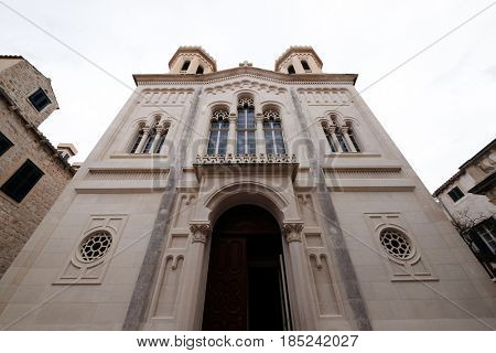 DUBROVNIK, CROATIA - NOVEMBER 07: The Orthodox Church of the Holy Annunciation was built in 1877 in the the Old Town of Dubrovnik on November 07, 2016.