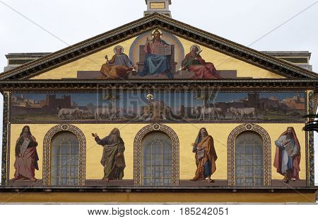 ROME - SEPTEMBER 05: Mosaic of Jesus Christ the Teacher, Saints Peter and Paul and prophets Isaiah, Jeremiah, Ezekiel and Daniel, Basilica of Saint Paul outside the walls, Rome on September 05, 2016.