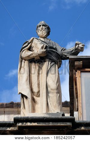 DUBROVNIK, CROATIA - NOVEMBER 07: Statue of Saint on the Cathedral of Assumption of the Virgin Mary in the Old Town of Dubrovnik, Croatia on November 07, 2016.