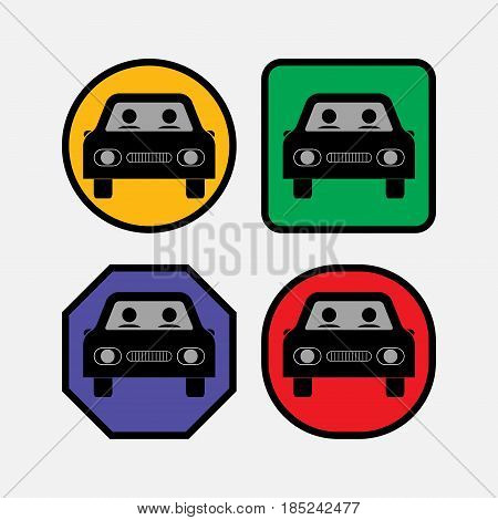 set icons at the ca bus car fully editable vector image