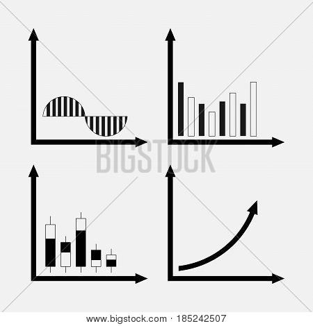 set of icons of trade stock market analysis of the motion of profit graphics trade digrammy characters btznes design fully editable vector image