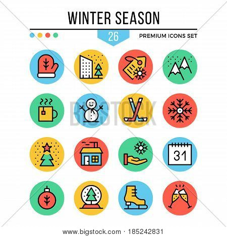 Winter season icons. Modern thin line icons set. Premium quality. Outline symbols, graphic elements, concept, flat line icons for web design, mobile app, ui, infographics. Creative vector illustration