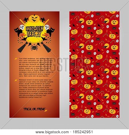 Halloween invitation vector template. Two sides of card with place for text, decorated title and traditional horror elements: pumpkins, bats, sculls. Simple geometric style clip art.