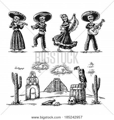 Day of the Dead, Dia de los Muertos. The skeleton in the Mexican national costumes dance, sing, play the guitar, violin, trumpet. Griffin on barrel with skull, cactus, cloud. Vector vintage engraving