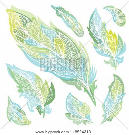 Boho tribal decorative sketch outline design elements on white background