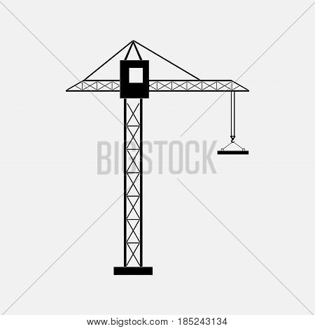 silhouette of a construction crane construction of buildings the icon cranes tower cranes fully editable vector image