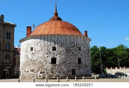 VYBORG, RUSSIA - JULY 10, 2016: Round Tower is a medieval fortification on the market square of Vyborg city, built by Swedes in 1547-1550