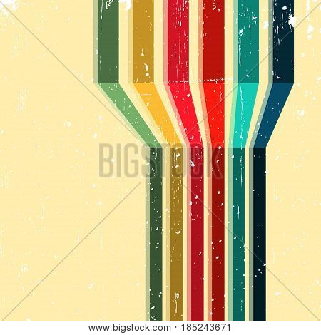 Vintage background with colored stripes. Abstract geometric pattern for cover album, brochure or flyer. Vector illustration.