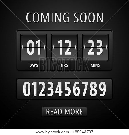 Coming soon countdown timer with days, hours and minutes. Vector illustration.