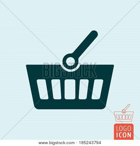 Shopping basket icon. Market basket symbol. Vector illustration