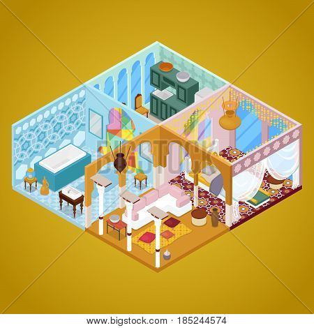 Arabian Interior Design. Apartment in Arabic Style. Isometric vector flat 3d illustration