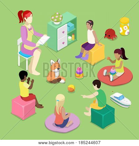 Kindergarden Interior with Children. Preschool Inside. Isometric vector flat 3d illustration