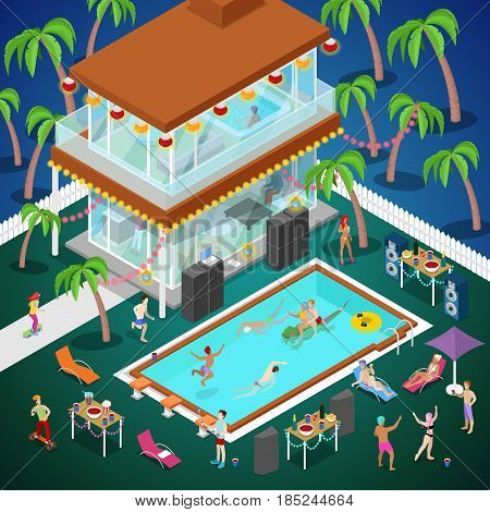 Outdoor Swimming Pool Party. Luxury Tropical Hotel. Isometric vector flat 3d illustration