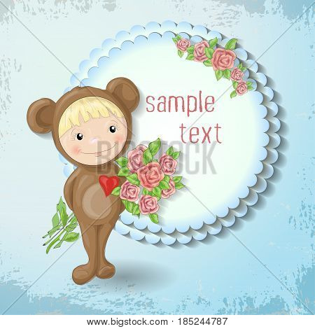 Girl in the suit of a teddy bear with a rose. Vector illustration