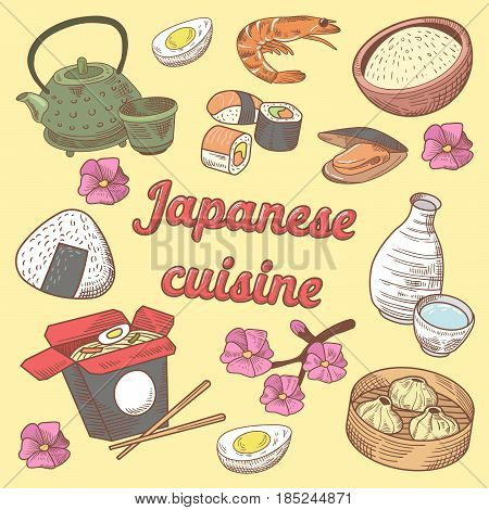 Japanese Cuisine Food with Sushi. Hand Drawn vector doodle