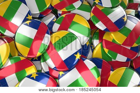 Central African Republic Badges Background - Pile Of Central African Republic Flag Buttons.