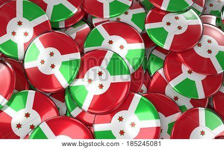 Burundi Badges Background - Pile Of Burundian Flag Buttons.