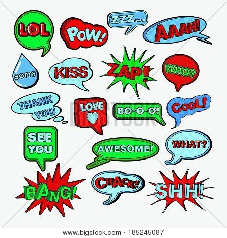Comic Speech Bubbles Set. Chat Communication Shapes with Expressions. Vector doodle