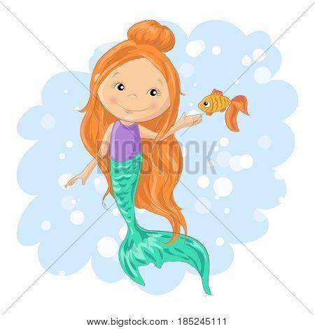 Lovely cartoon mermaid and goldfish. Vector illustration