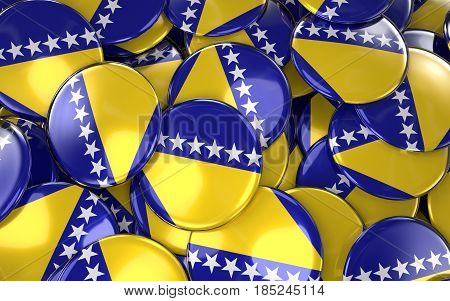 Bosnia And Herzegovina Badges Background - Pile Of Bosnia Herzegovinan Flag Buttons.