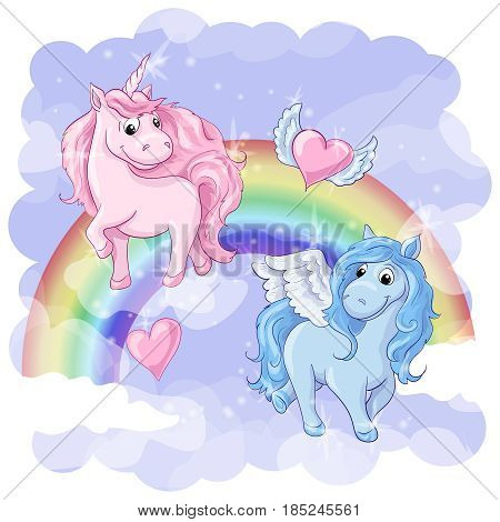 Fantastic postcard with Pegasus and Unicorn, rainbow and hearts with wings. Vector illustration