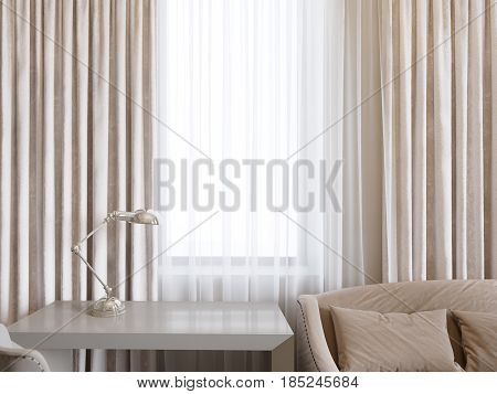 Curtains and workplace in room interior neutral background copy space for writing. Mock up 3d interior rendering