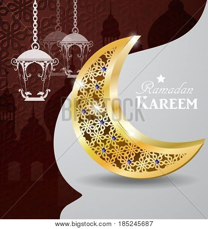 Arabic illustration of Ramadan Kareem golden moon on white and blue paper with Silhouette of mosque and hanging lights
