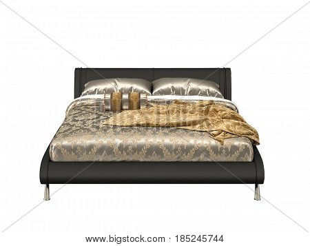 Modern Urban Contemporary Isolated bed on chrome-plated legs with bed linen on white background. 3d render