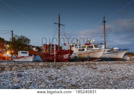 PYTHAGORIO, GREECE - MARCH 27, 2017: Dry docked boats in the harbor of Pythagorio town on Samos island, Greece on March 27, 2017.