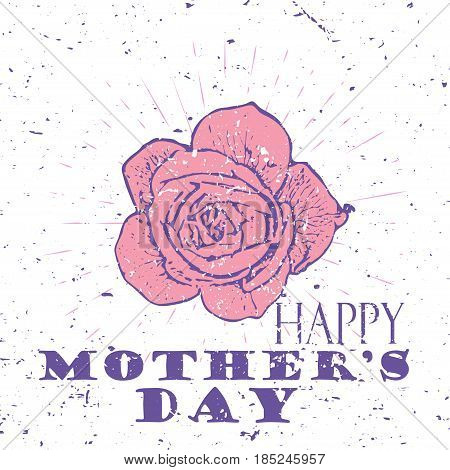 Happy Mother's Day concept with pink rose flower and Lettering Typography with burst on a Old Textured Background. Vector illustration for cards, banners, print