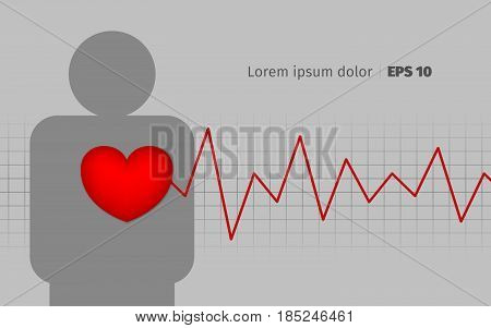Medical cardio background with pills. Cardiograms and pulse.