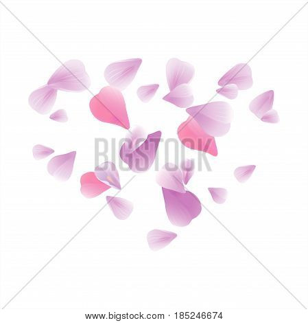 Abstract background with flying pink, purple rose petals. Vector illustration isolated on white background. Petals Heart. EPS 10, cmyk