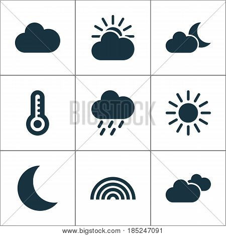 Climate Icons Set. Collection Of Moonlight, Temperature, Weather And Other Elements. Also Includes Symbols Such As Cloud, Rain, Hot.