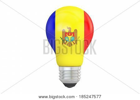 Light bulb with Moldova flag 3D rendering isolated on white background