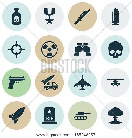 Army Icons Set. Collection Of Missile, Cranium, Ordnance And Other Elements. Also Includes Symbols Such As Bomb, Head, Aircraft.