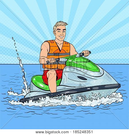Young Man on Jet Ski. Extreme Water Sports. Pop Art vector illustration