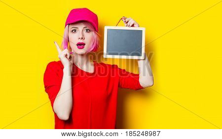 Young Woman With Blackboard
