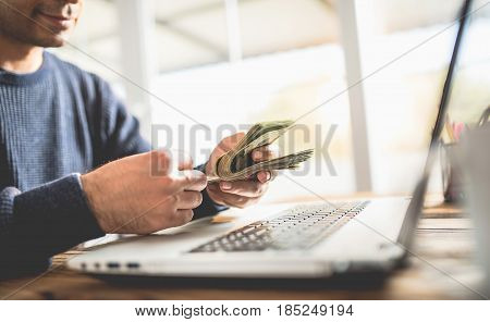 Make Money Online Concept Man Counting His Cash That He Earned On Internet