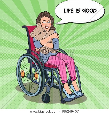 Disability Person. Happy Little Girl Sitting in Wheelchair. Pop Art vector illustration