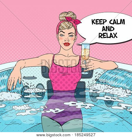 Pretty Woman Drinking Champagne and Relaxing in Jacuzzi. Pop Art vector illustration