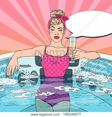Woman Drinking Champagne and Relaxing in Jacuzzi. Pop Art vector illustration